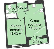 1 комнатная квартира 33,84 м² в ЖК Ватсон, дом № 4 - планировка