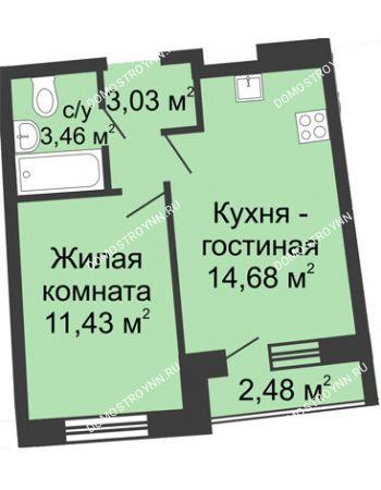 1 комнатная квартира 33,7 м² в ЖК Ватсон, дом № 5