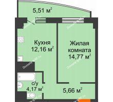 1 комнатная квартира 42,27 м² в ЖК Нива, дом №37 - планировка