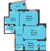 3 комнатная квартира 102,7 м² в ЖК Перья, дом № 1, 4 этап - планировка