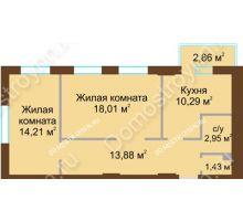 2 комнатная квартира 61,63 м² в ЖК Солнечный, дом № 3 - планировка