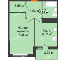 1 комнатная квартира 40,05 м² в ЖК Университетский парк, дом 2 очередь - планировка