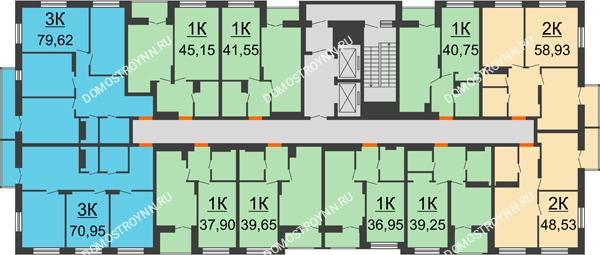 Планировка 3 этажа в доме №1, секция 2 в ЖК Заречье