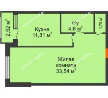Студия 52,91 м², ЖК Сергиевская Слобода - планировка