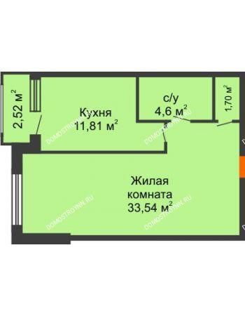 Студия 52,91 м² - ЖК Сергиевская Слобода