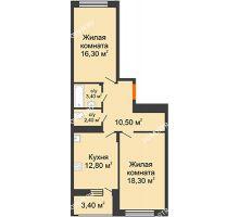 2 комнатная квартира 65,4 м² в ЖК Цветы 2, дом № 4 - планировка