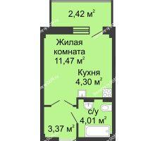 Студия 27,12 м² в ЖК Соловьиная роща, дом № 7 - планировка