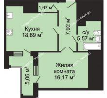 1 комнатная квартира 52,75 м², ЖК Гелиос - планировка