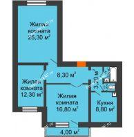 3 комнатная квартира 79,4 м², Жилой дом пр. Ленинградский, 26 г. Железногорск - планировка