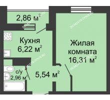 1 комнатная квартира 32,46 м² в ЖК Бурнаковский, дом № 39