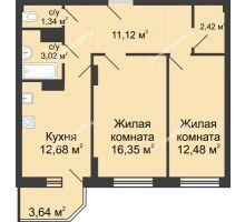 2 комнатная квартира 61,24 м² в ЖК Сердце Ростова, дом Этап II