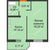 1 комнатная квартира 37,49 м² в ЖК Квартал №6 (Восточный), дом Литер 25 - планировка
