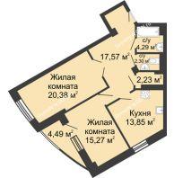2 комнатная квартира 80,38 м², ЖК Юбилейный - планировка