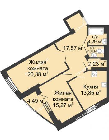 2 комнатная квартира 80,38 м² - ЖК Юбилейный