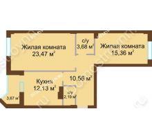 2 комнатная квартира 69,23 м² - ЖК Грани