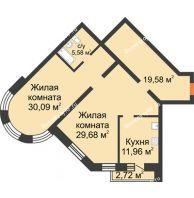 2 комнатная квартира 100,7 м², ЖК На Владимирской - планировка