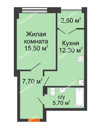 1 комнатная квартира 44,2 м² - ЖК Гагарин