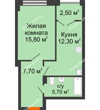 1 комнатная квартира 44,2 м², ЖК Гагарин - планировка