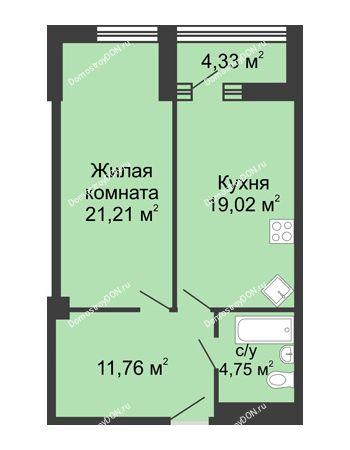 1 комнатная квартира 58,9 м² - ЖК Бристоль