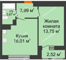 1 комнатная квартира 39,94 м² в ЖК Книги, дом № 2 - планировка