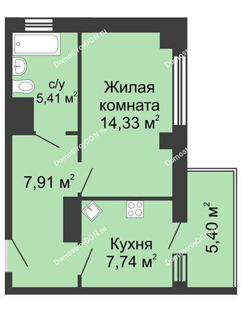 1 комнатная квартира 37,01 м² в ЖК Мега, дом № 2