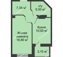 1 комнатная квартира 40,7 м² в ЖК Новый Город, дом № 3 - планировка