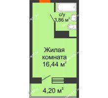 Студия 20,3 м² в ЖК Заречный, дом ГП-49 - планировка