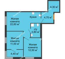 3 комнатная квартира 62,1 м², ЖК Островский - планировка