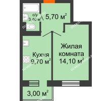 1 комнатная квартира 32,8 м² в ЖК Жюль Верн, дом № 1 корпус 1 - планировка