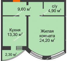 1 комнатная квартира 52 м², ЖК по ул. Циолковского - планировка