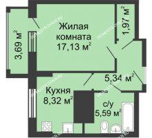 1 комнатная квартира 40,2 м², ЖК Гелиос - планировка