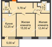 2 комнатная квартира 64,57 м² в ЖК Гвардейский 3.0, дом Секция 1 - планировка