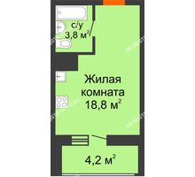 Студия 24,7 м² в ЖК Подкова на Родионова, дом № 2 - планировка