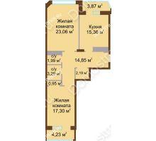 2 комнатная квартира 81,7 м² в ЖК Дворянский, дом № 1 - планировка