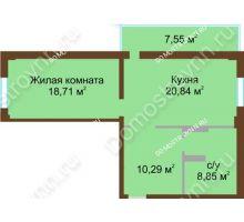 1 комнатная квартира 60,95 м² в ЖК Дом с террасами, дом № 1