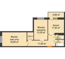 2 комнатная квартира 68,4 м² в ЖК Я, дом  Литер 2 - планировка