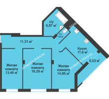 3 комнатная квартира 83,02 м² в ЖК На Вятской, дом № 3 (по генплану)
