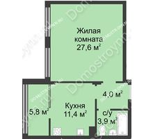 1 комнатная квартира 52,8 м² в ЖК Славянский квартал, дом № 5а, 7
