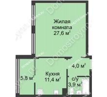 1 комнатная квартира 52,8 м² в ЖК Славянский квартал, дом № 5а, 7 - планировка