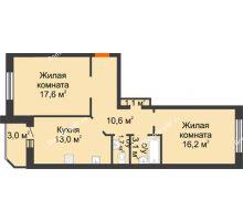 2 комнатная квартира 66,3 м² в ЖК Острова, дом 4 этап (второе пятно застройки) - планировка