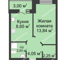 1 комнатная квартира 33,12 м² в ЖК Парк Горького, дом 62/3, № 5 - планировка