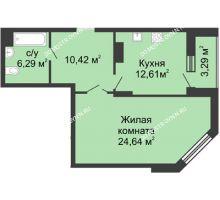 1 комнатная квартира 53,96 м² в ЖК Высоково, дом № 3 - планировка