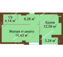 1 комнатная квартира 44,04 м² - ЖК Грани