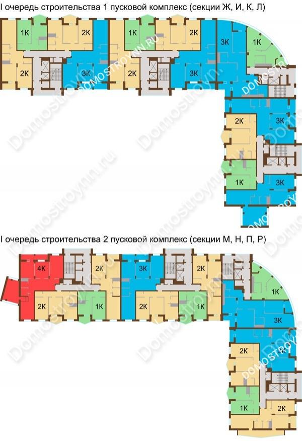 Планировка 12 этажа в доме № 89, корп. 1, 2 в ЖК Монолит