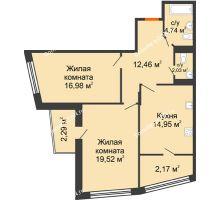 2 комнатная квартира 75,51 м² в Микрорайон Красный Аксай, дом Литер 21