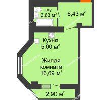 Студия 31,87 м² в ЖК Солнечный, дом № 2 - планировка