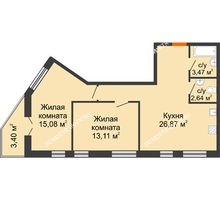 2 комнатная квартира 64,57 м² - ЖК Пушкин
