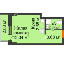Студия 21,89 м² - ЖК Каскад на Путейской
