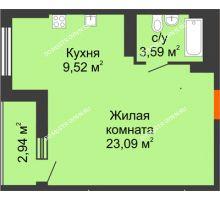 Студия 37,67 м², ЖК Орбита - планировка