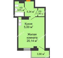 Студия 37,26 м² в ЖК Сокол на Оганова, дом Литер 5 - планировка